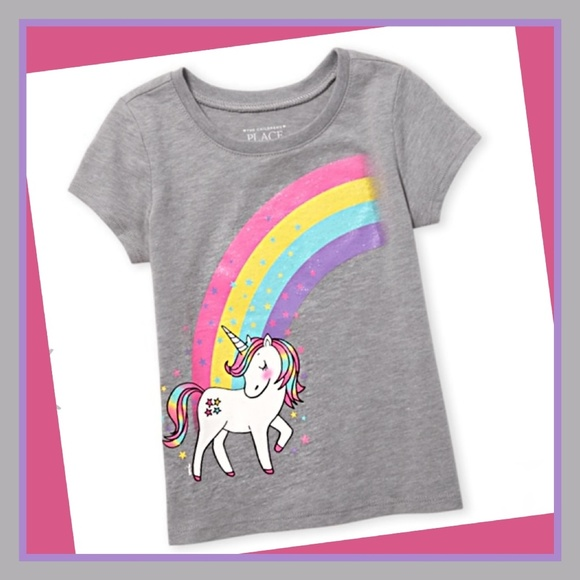 The Childrens Place Girls Graphic Tee Sz L 10-12 be The Rainbow School Shirt New